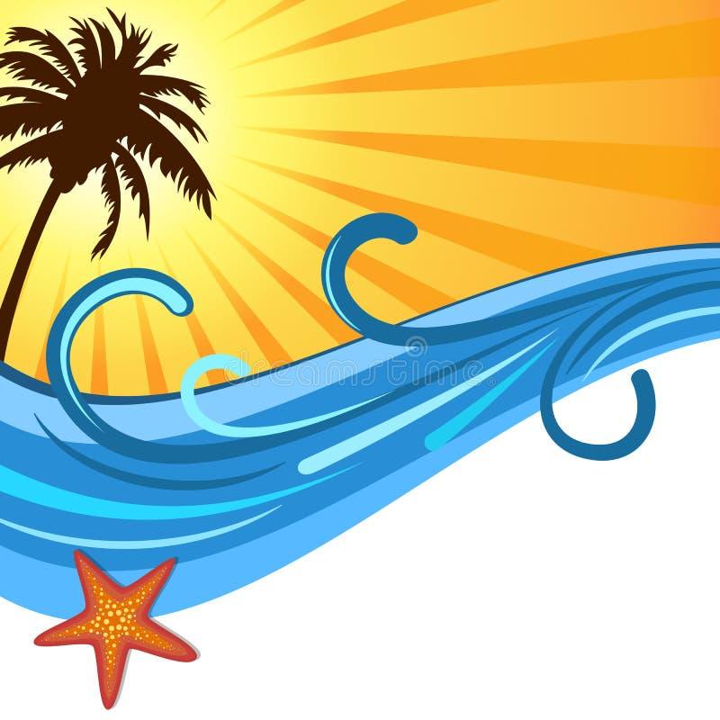 夏天海浪和日落有棕榈树背景 库存例证