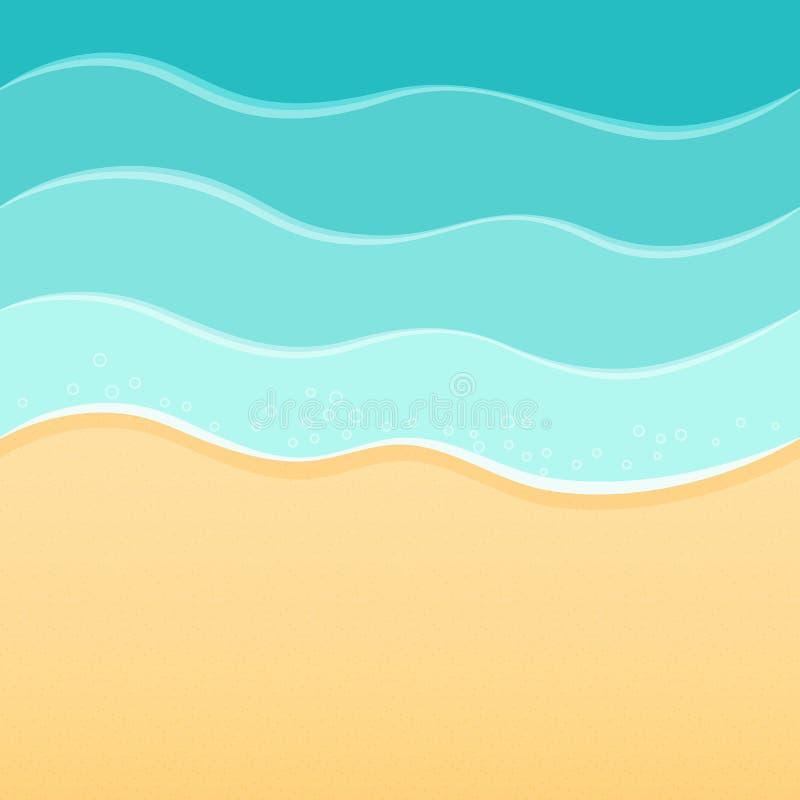夏天海海滩背景、波浪和沙子 旅行手段放松温泉概念 库存例证