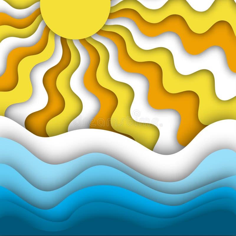 夏天海滩与明亮和发光的太阳光芒和海或海浪的摘要背景 库存例证