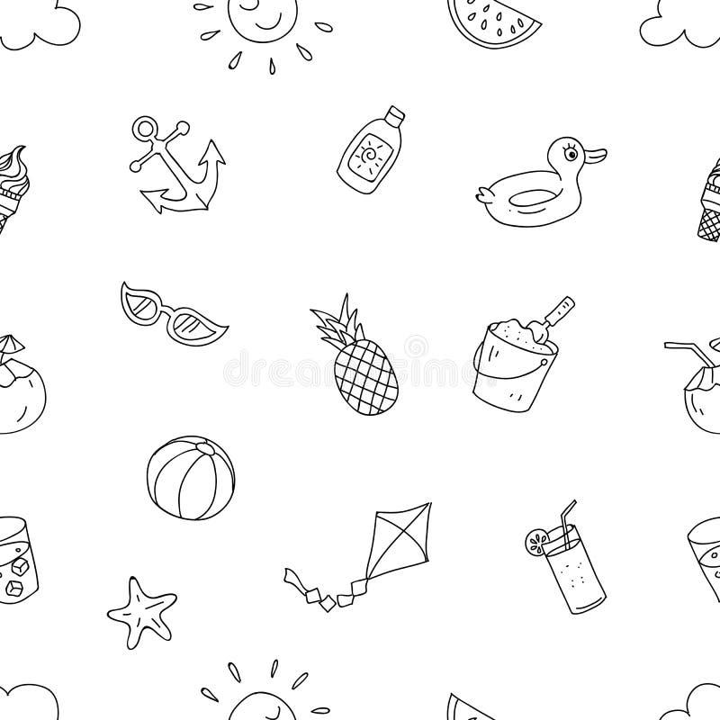 夏天海滩假日无缝的样式 准备对手写印刷体图画动画片样式设计为纸,织品生产 向量例证