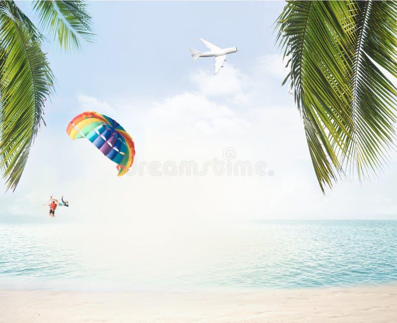 夏天海滩和海洋天际与热带棕榈叶3d烈 库存图片