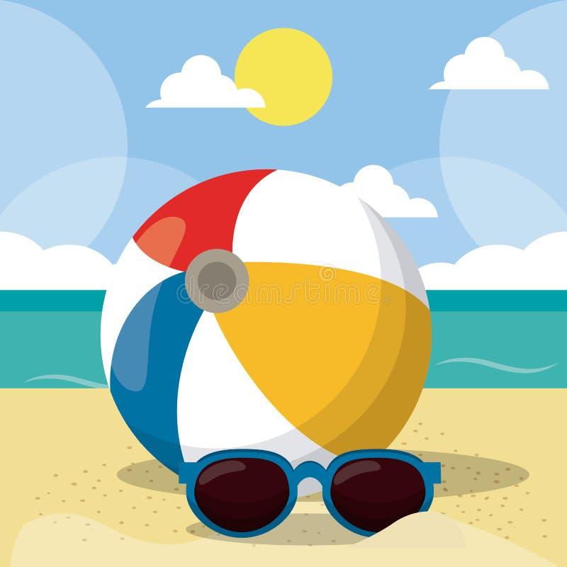 夏天海滩在海滨的传染媒介设计与沙滩伞和椅子 夏天背景传染媒介例证为 向量例证