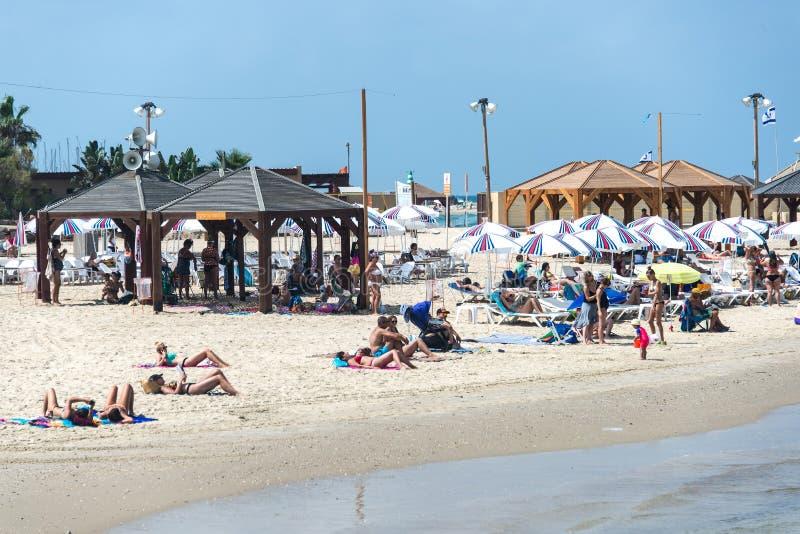 夏天海滩场面在特拉维夫,以色列 库存图片