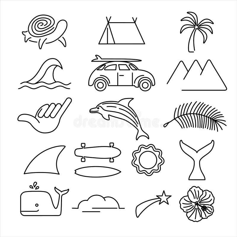 夏天海滩海浪象在线艺术样式设置了 向量例证