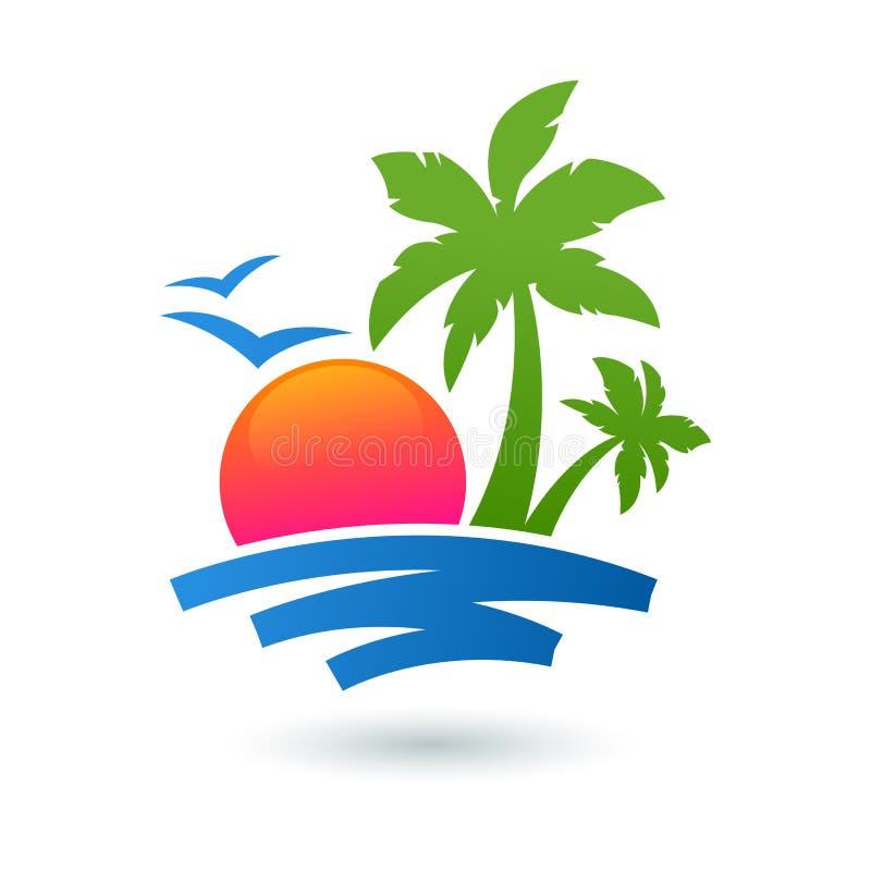 夏天海滩例证、抽象太阳和棕榈树在海边 向量例证