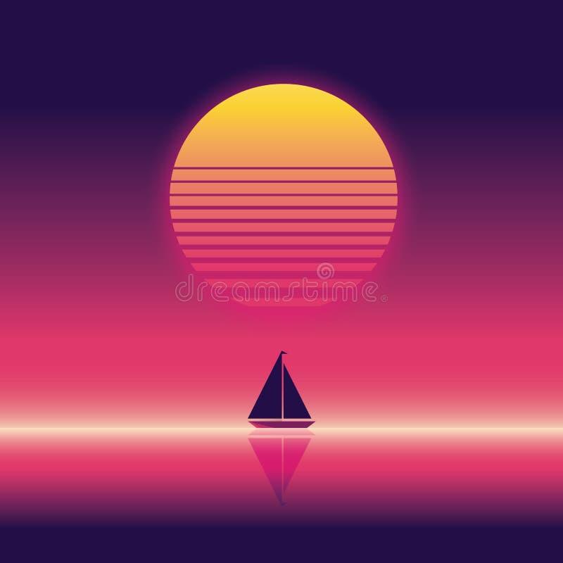 夏天海滩党传染媒介横幅或飞行物模板 80s减速火箭的霓虹焕发样式 在天际的游艇航行 向量例证