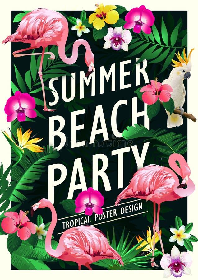 夏天海滩党海报与棕榈树的设计模板,横幅热带背景 库存例证