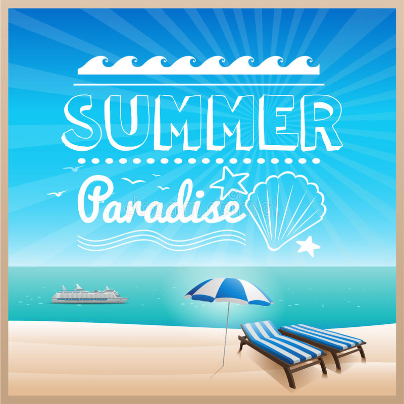 夏天海滩印刷术设计背景 库存例证