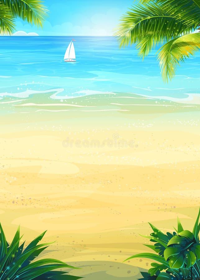 夏天海滩和海船 皇族释放例证