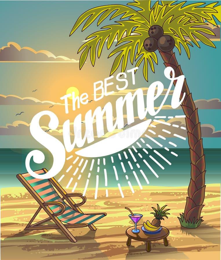 夏天海滩字法在海滨的传染媒介设计与棕榈树和椅子 皇族释放例证