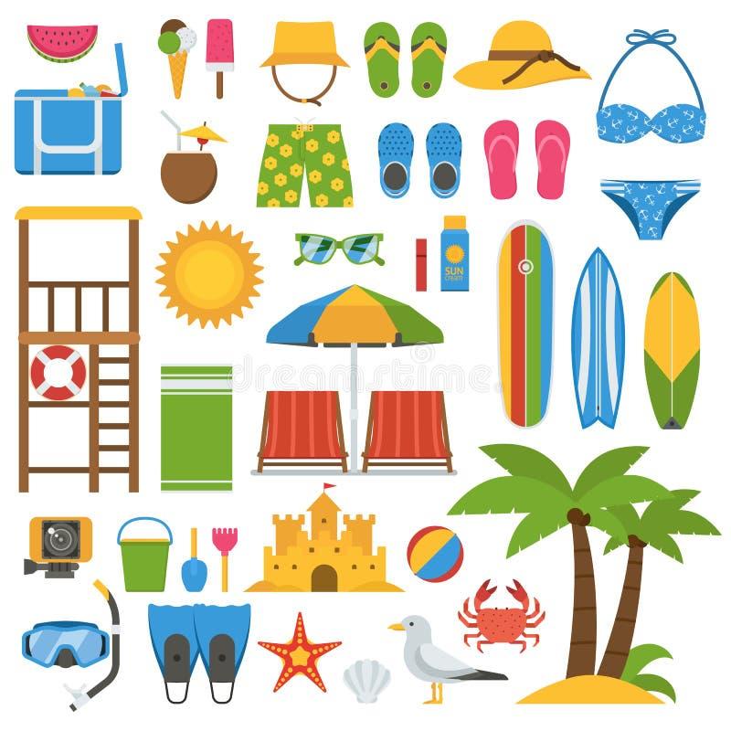 夏天海滩集合 向量例证