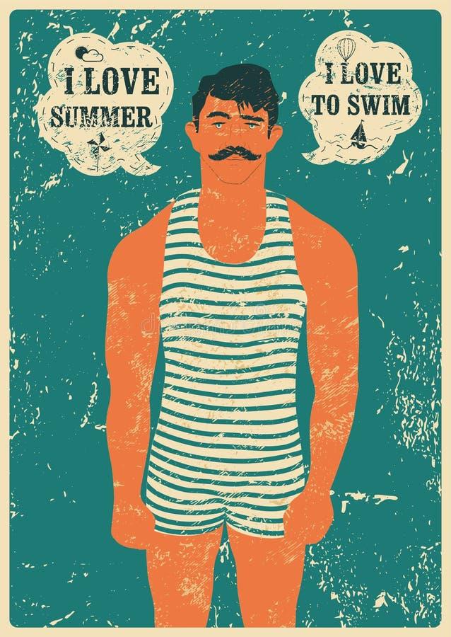 夏天游泳者 印刷游泳葡萄酒难看的东西海报设计 例证减速火箭的向量 库存例证