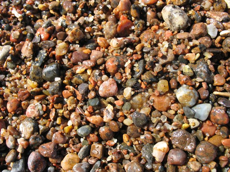 夏天湿石头和沙子海边小卵石关闭 库存照片