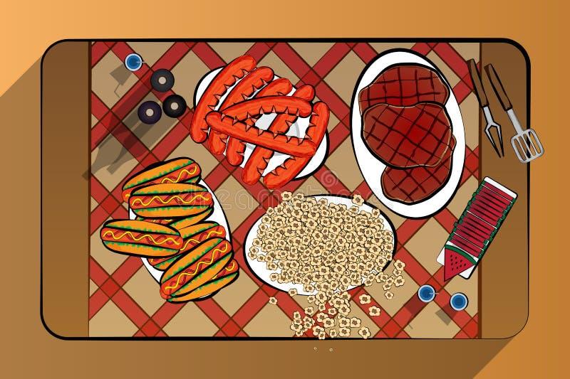 夏天烤肉格栅牛肉香肠热狗和玉米花为时的顶视图例证用西瓜和喝,例证加州 向量例证