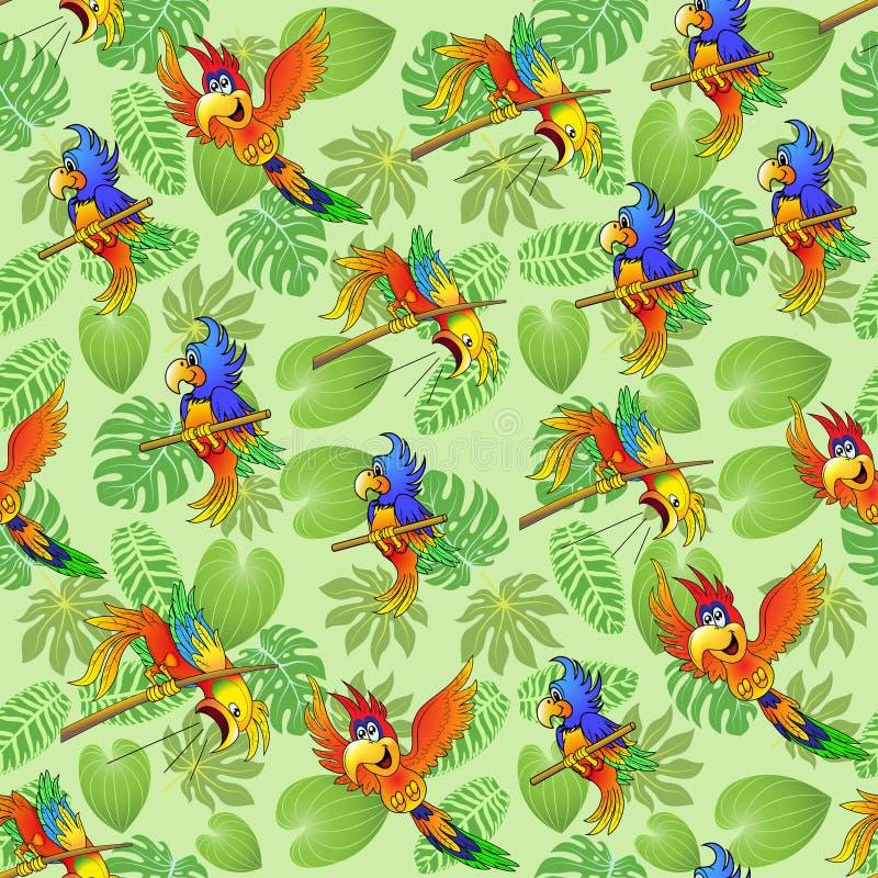 夏天热带叶子和鹦鹉无缝的背景  向量例证