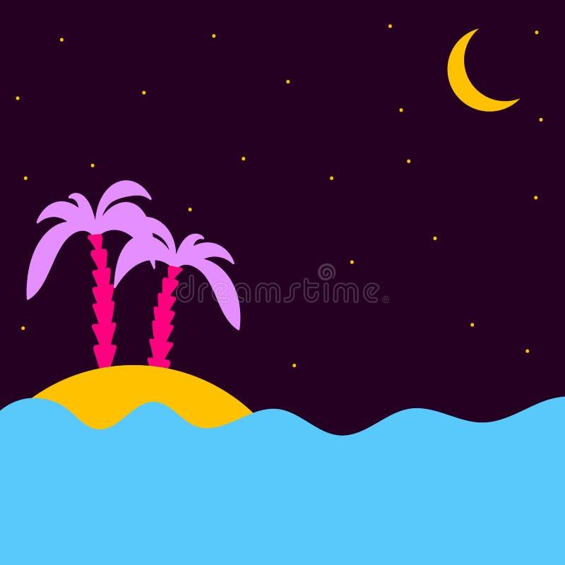 夏天热带夜 有棕榈树的海岛在海在满天星斗的天空和月亮月牙下 向量例证