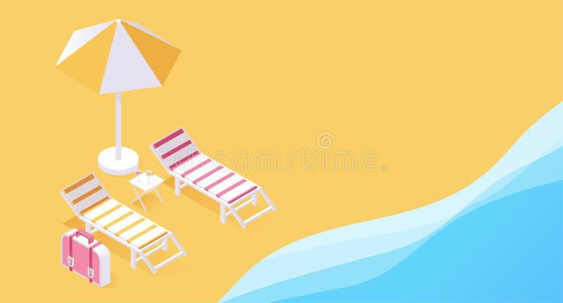 夏天热带度假村3d概念 在海滨的两张轻便折叠躺椅,在夏天等量传染媒介的海洋沙子 向量例证