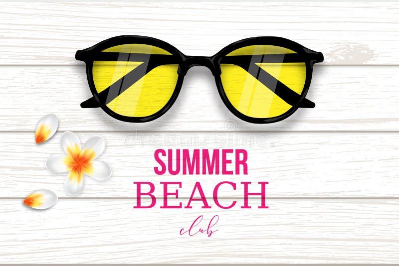 夏天热带海滩俱乐部背景传染媒介 库存例证