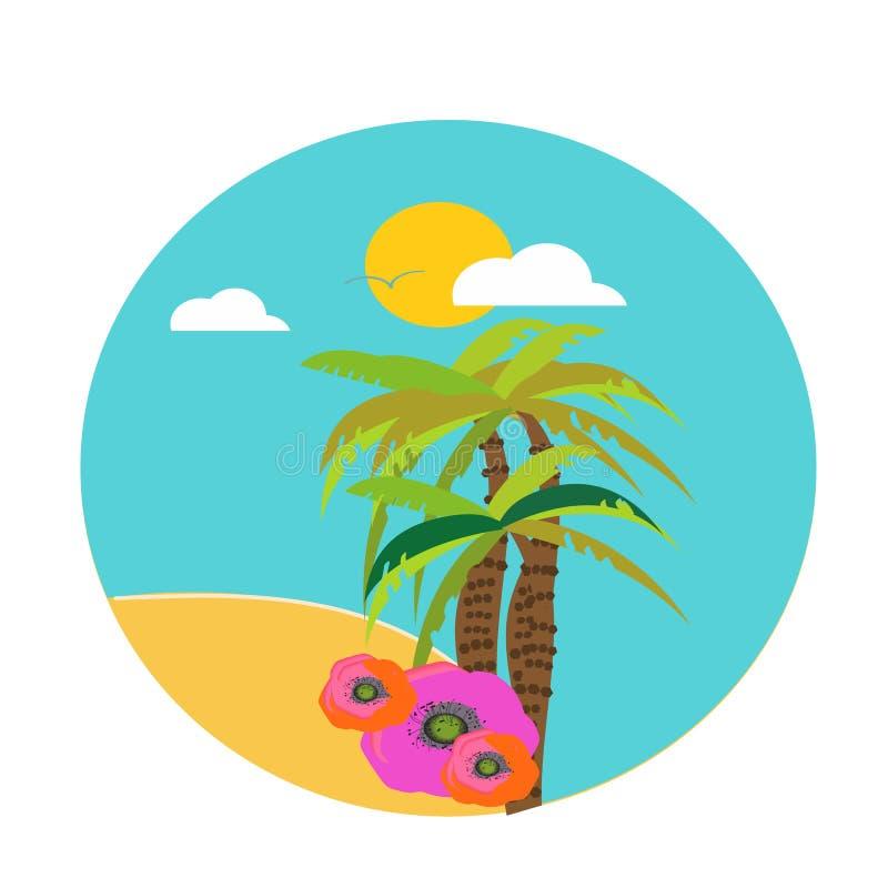 夏天热带背景设置与棕榈、天空和日落 夏天招贴海报飞行物请帖 o 向量例证