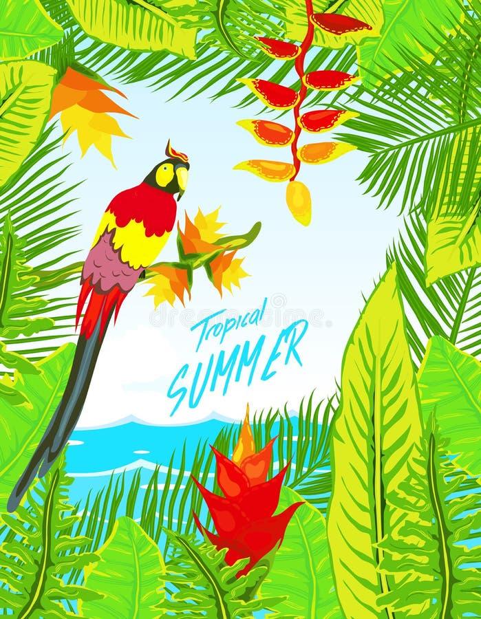 夏天热带背景设置了与棕榈、天空和日落 夏天招贴海报飞行物邀请卡片 夏令时 向量例证