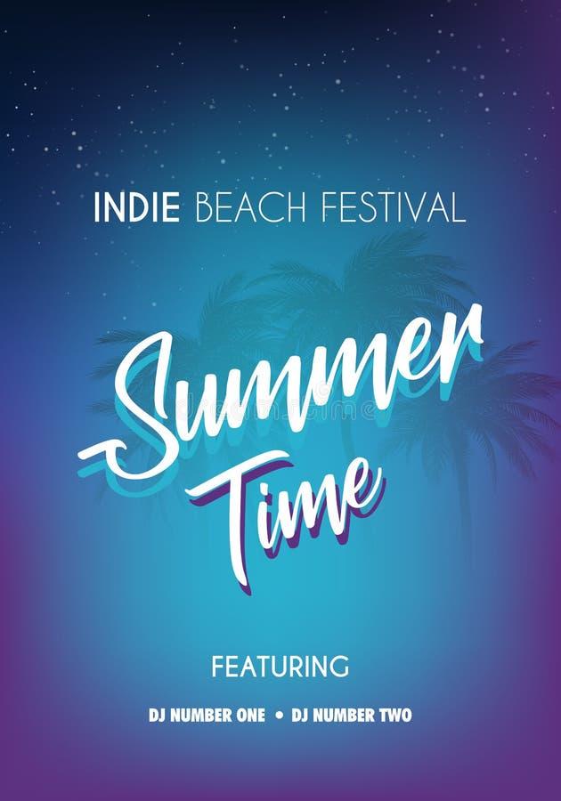 夏天热带背景设置了与棕榈、天空和日落 夏天招贴海报飞行物邀请卡片 夏令时 库存例证