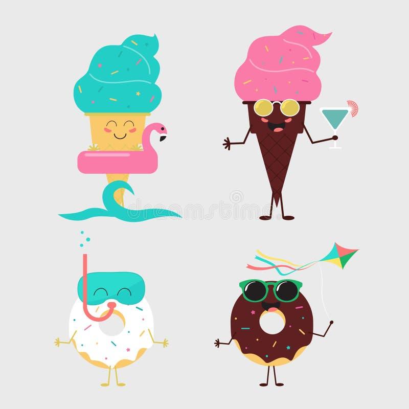 夏天甜点 颜色冰淇凌和油炸圈饼蛋糕设计 库存例证