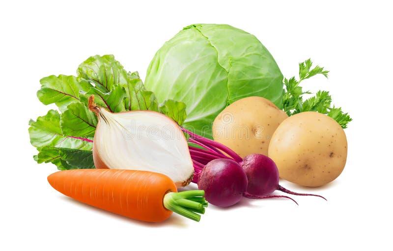 夏天罗宋汤成份:甜菜、圆白菜、在白色和葱隔绝的红萝卜、土豆 免版税库存图片