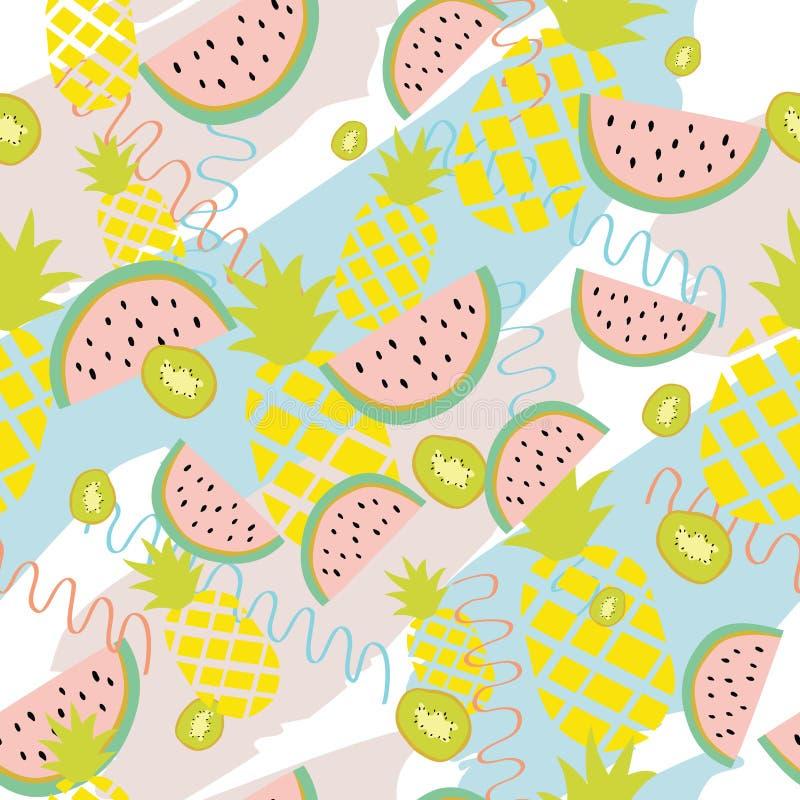 夏天背景用菠萝、西瓜和猕猴桃 库存例证