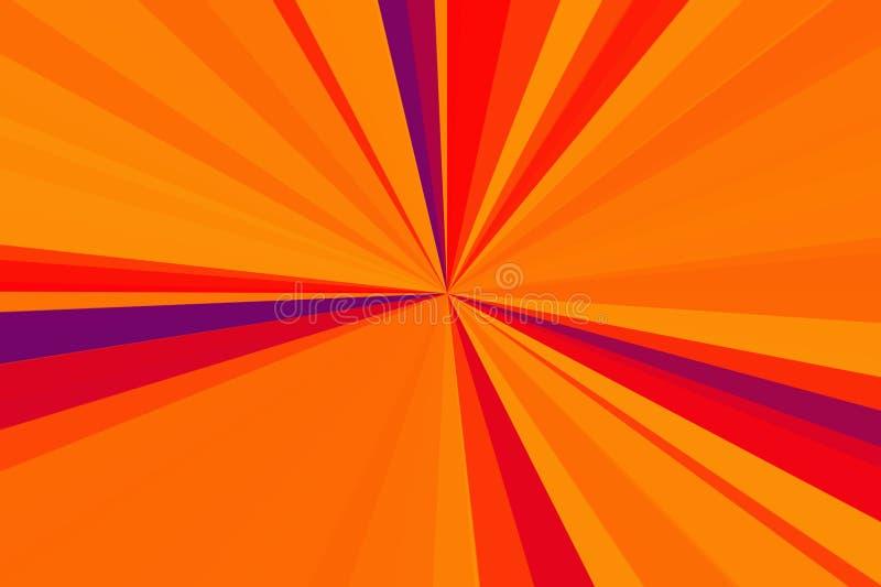 夏天背景,壮观的太阳爆炸透镜火光 热与拷贝空间 抽象背景光芒 条纹射线样式 向量例证