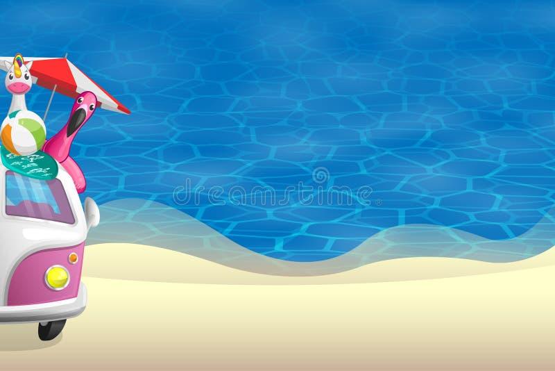 夏天背景-在沙滩前面的看法与在左边的桃红色露营车 库存照片