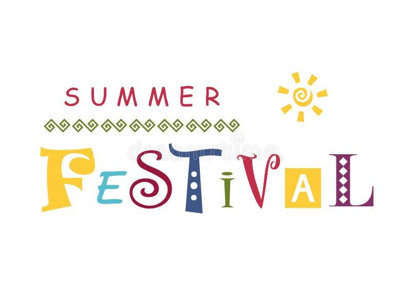 夏天节日字法用用装饰品和太阳装饰的不同的五颜六色的信件的 向量例证
