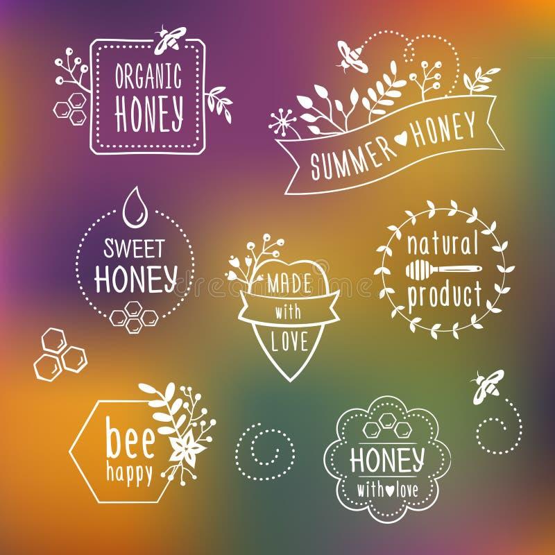 夏天花卉蜂蜜标签,象 库存例证