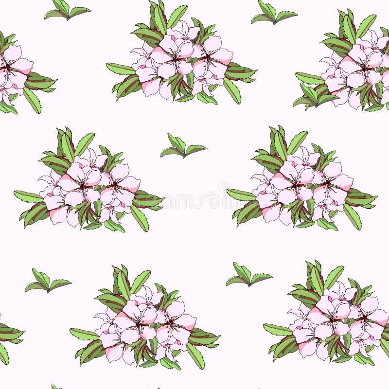 夏天花卉petern与绿色叶子 在白色背景的逗人喜爱的无缝的纹理织品和瓦片的 向量例证