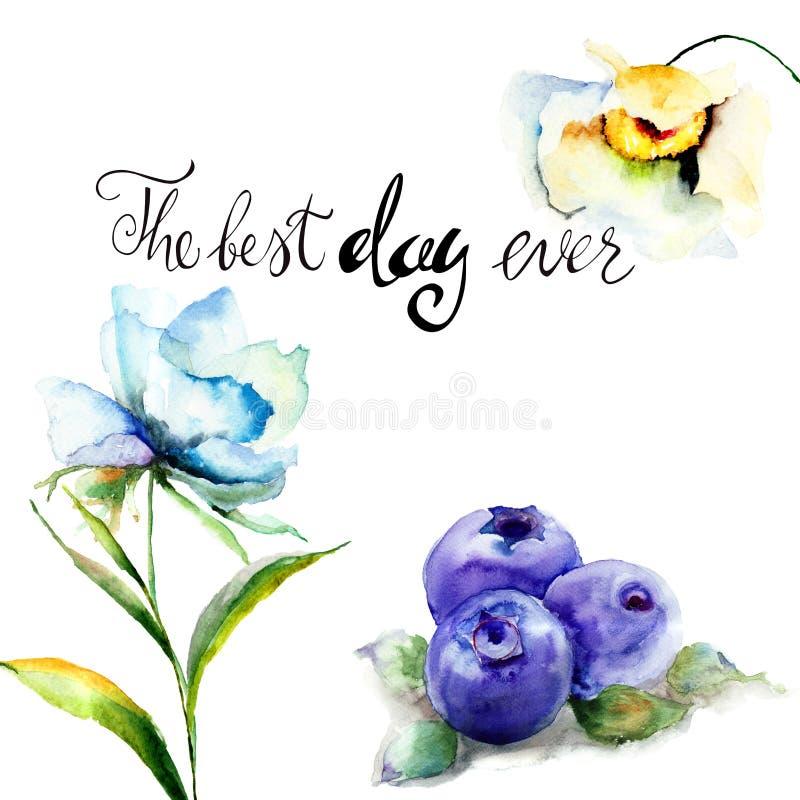 夏天花和蓝莓与标题最佳的天  库存例证