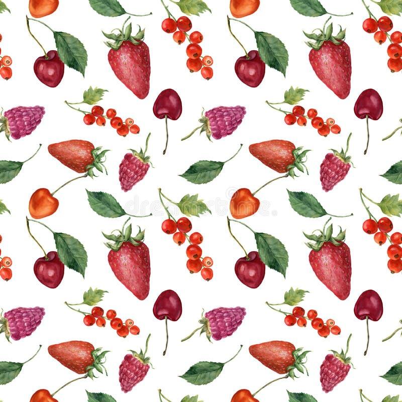 夏天莓果和果子水彩食物无缝的样式 水彩草莓、樱桃、红醋栗、莓和叶子isolat 向量例证