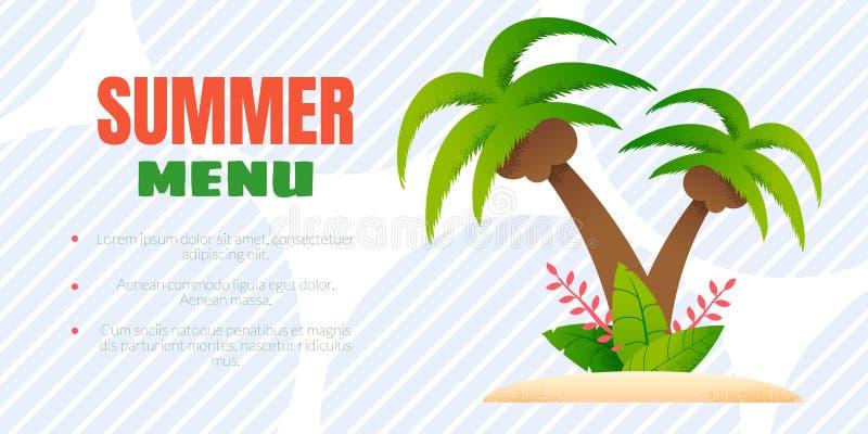 夏天菜单与编辑可能的文本的广告横幅 向量例证