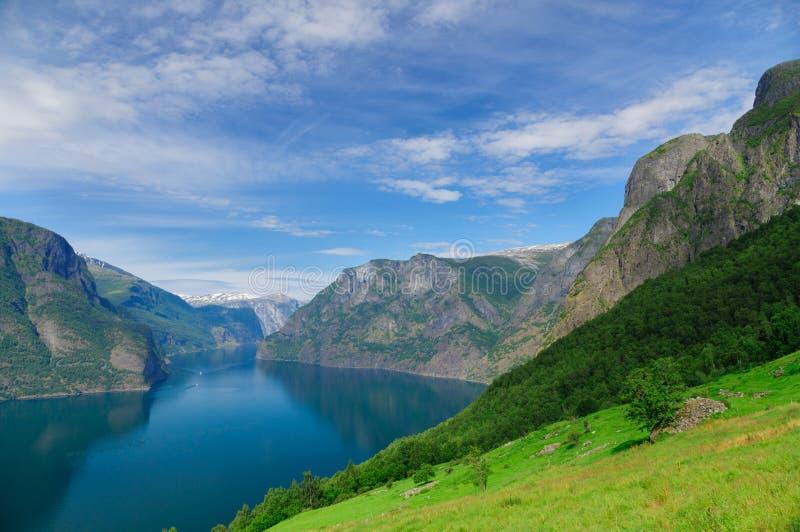 夏天蓝天Aurlandsfjord,一部分的Sognefjord 库存图片