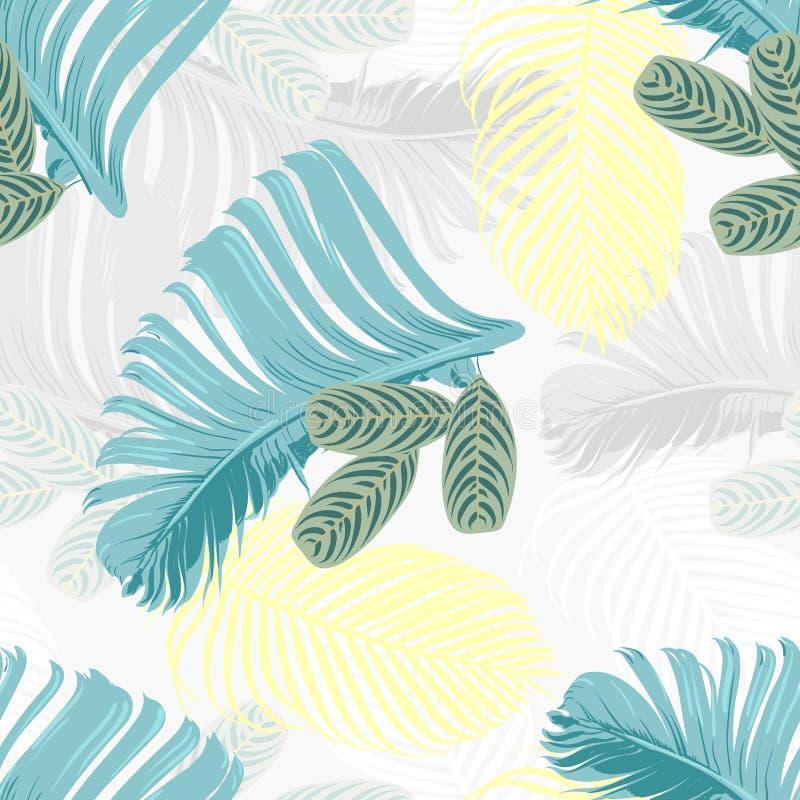 夏天薄菏和蓝色热带森林留给明亮的心情fashoin织品的,墙纸书,卡片无缝的样式 库存例证