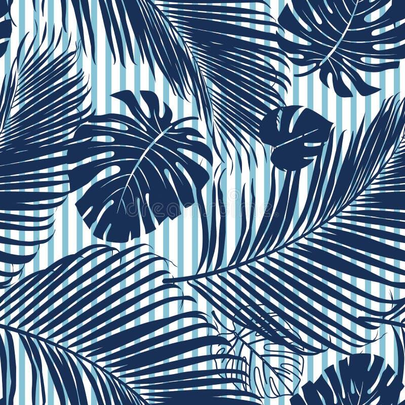 夏天藏青色热带森林在天蓝色条纹无缝的样式fashoin织品、墙纸和卡片留下明亮的心情 向量例证