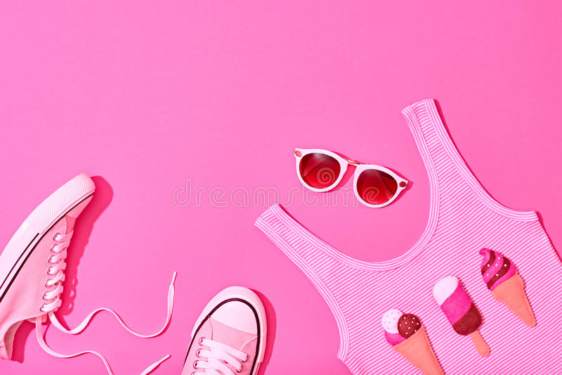 夏天行家女孩集合 时尚设计,最小 免版税库存照片