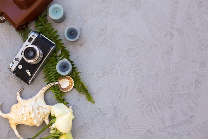 夏天行家flatlay与葡萄酒影片照相机和贝壳 库存图片