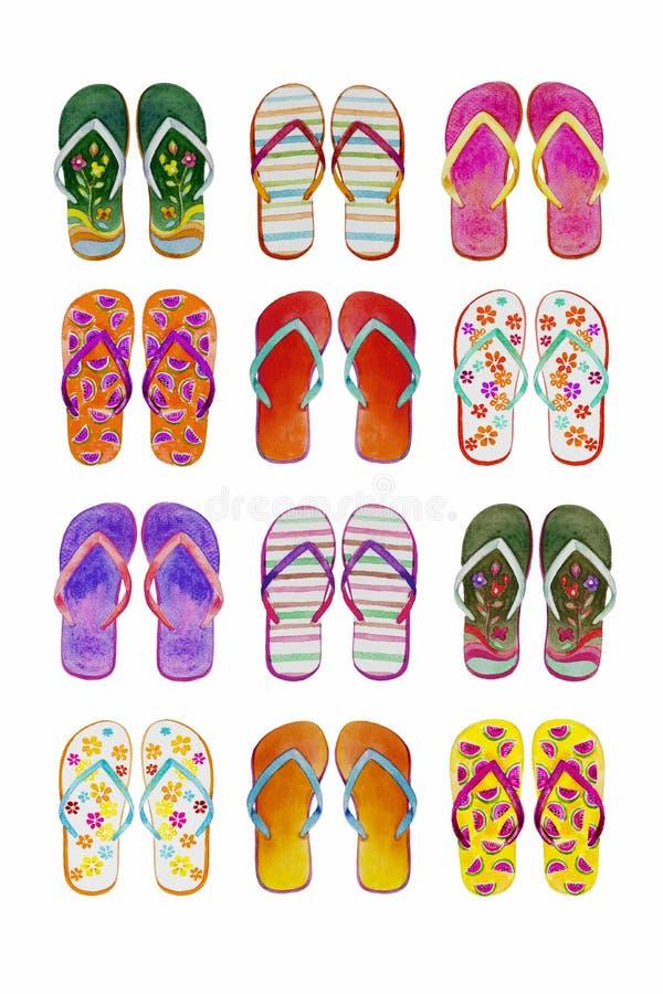 夏天被设置五颜六色被隔绝的触发器 库存例证
