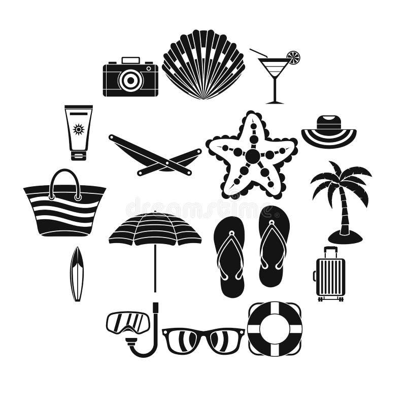 夏天被设置的休息象,简单的样式 库存例证