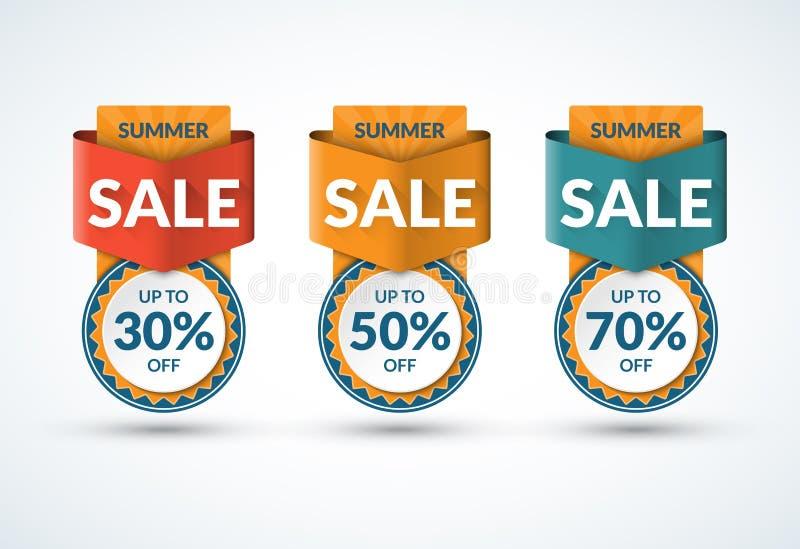 夏天被设置的销售横幅 特价优待,折扣模板 30, 50, 70% 也corel凹道例证向量 皇族释放例证