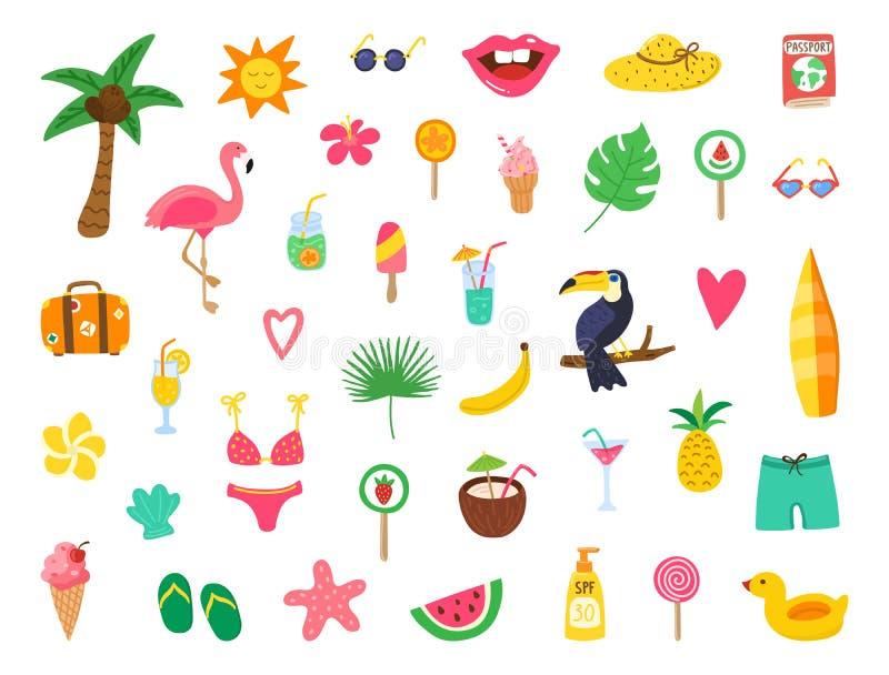 夏天设置与手拉的元素 夏天海滩与乱画火鸟,花,热带水果,甜点的党设计 ?? 库存例证