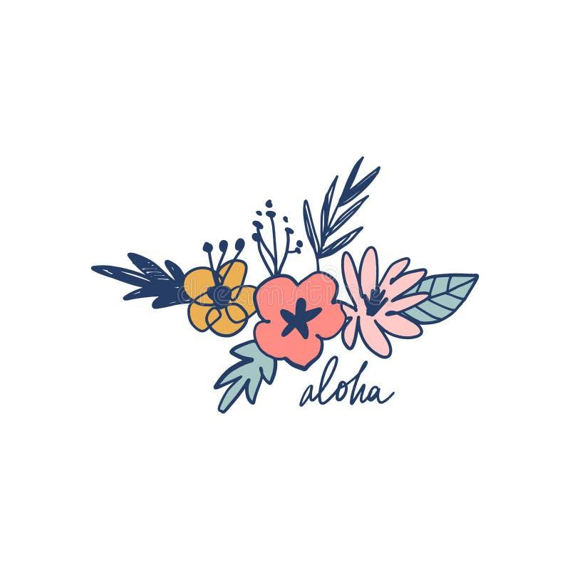 夏天设置与手拉的花和热带叶子 喂在文本上写字 有益于网,海报,邀请 ?? 向量例证