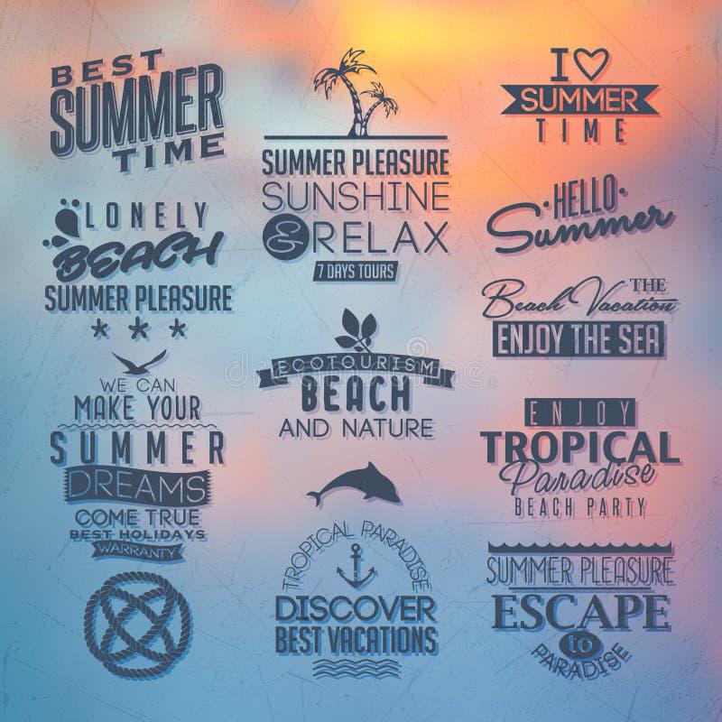 夏天设计的标签 向量例证
