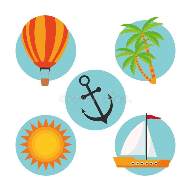 Download 夏天设计 假日象 五颜六色的例证,传染媒介 向量例证. 插画 包括有 符号, 热带, 吸引力, 夏令时, 旅游业 - 72371497
