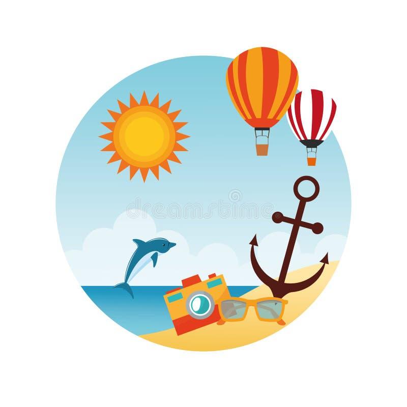 Download 夏天设计 假日象 五颜六色的例证,传染媒介 向量例证. 插画 包括有 旅行, 照相机, 消遣, 季节, 海豚 - 72371543