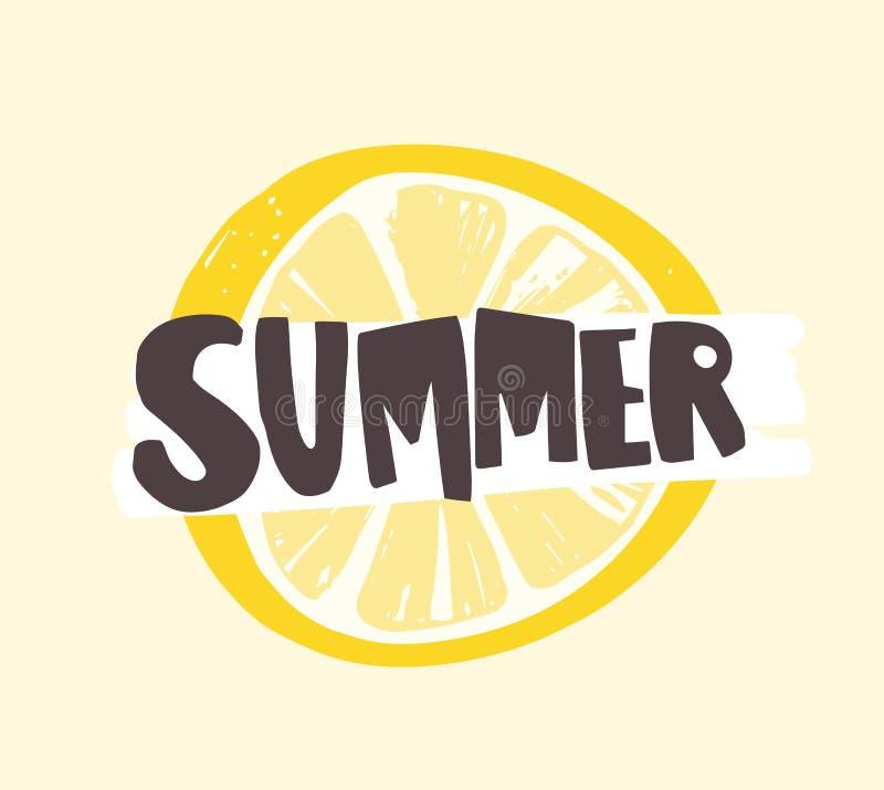 夏天词写与质朴的书法字体在柠檬或柑橘切片 与热带的创造性的夏令时构成 向量例证
